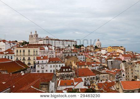 Panorama Of Alfama Quarter In Lisbon, Portugal