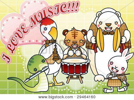 Animais fofos com Festival de música feliz
