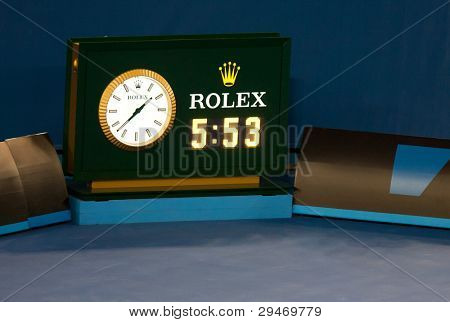 MELBOURNE - JANUARY 29: Timeclock at the completion of the final between Novak Djokovic of Serbia and Rafael Nadal at the 2012 Australian Open on January 29, 2012 in Melbourne, Australia.