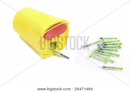 Used Syringes And Container