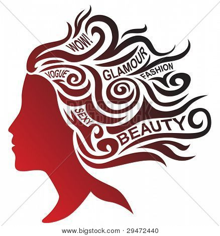 Stylized woman face and hair design