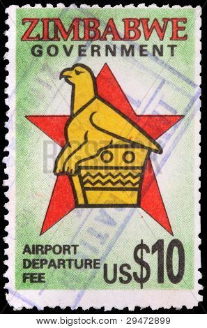 A 10-dollar Stamp Printed In Zimbabwe