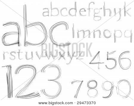 Sketch Hand Drawn Alphabet And Numbers