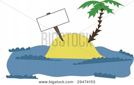 Island With A Palm And Tablet
