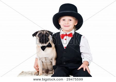 Little Boy With Dog Set Up For Valentines Greeting Isolated On White