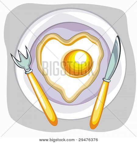 Vector fried egg saucer with spoon and knife for Valentines Day and other occasions.