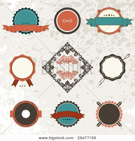 vintage ornate decor elements. ornaments ribbon stamps. Vector copy search in my portfolio