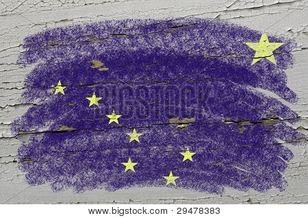 Flag Of Us State Of Alaska On Grunge Wooden Texture Precise Painted With Chalk