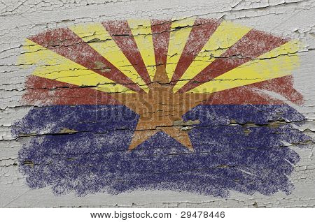 Flag Of Us State Of Arizona On Grunge Wooden Texture Precise Painted With Chalk