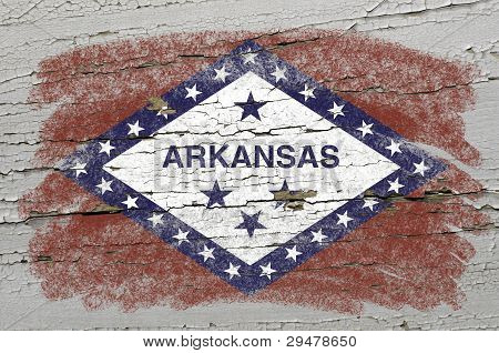 Flag Of Us State Of Arkansas On Grunge Wooden Texture Precise Painted With Chalk