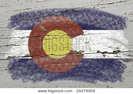 Flag Of Us State Of Colorado On Grunge Wooden Texture Precise Painted With Chalk