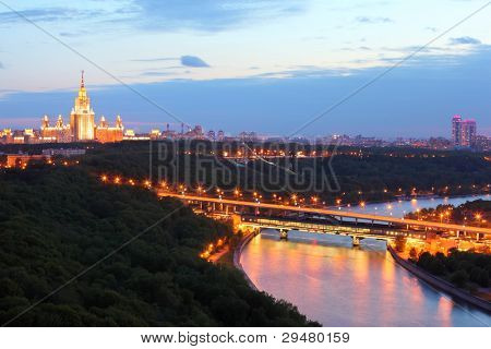 Luzhnetsky metro bridge, Moscow State University, panorama of Moscow, Russia