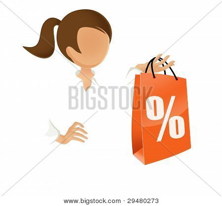 woman holding a discount shopping bag