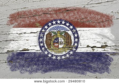 Flag Of Us State Of Missouri On Grunge Wooden Texture Precise Painted With Chalk