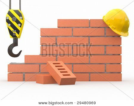Under construction. Brick wall, crane and hardhat. 3d