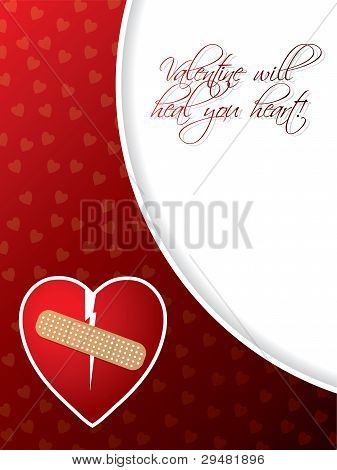 Valentine Greeting Card With Broken Heart