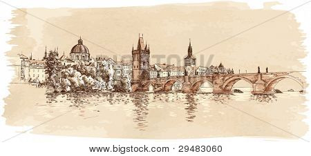 Panorama of Prague. View of Charles Bridge and the Vltava river embankment. Vector drawing