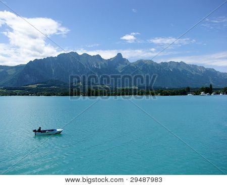 Boat on Lake Thun, Switzerland