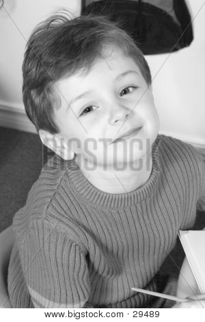 Black & White Of Adorable Four Year Old