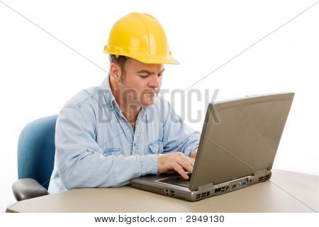 Construction Engineer On Computer