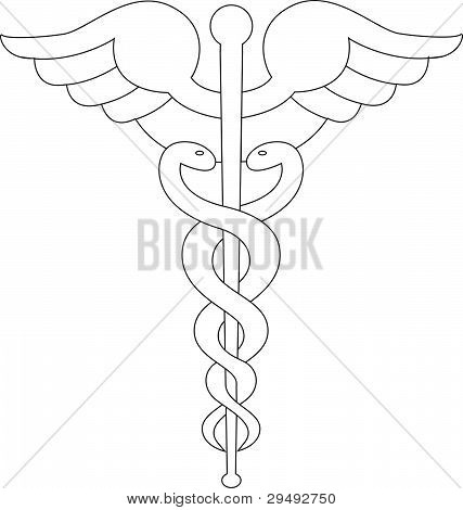 Caduceus symbol line illustration