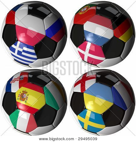 Isolated Soccer Ball With Flags Of Sixteen European Nations