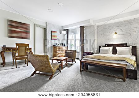 poster of Hotel Room - Vacation Concept Background - Luxurious Modern Hotel Room Apartment Interior