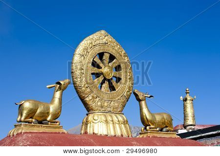 Golden deer and dharma wheel