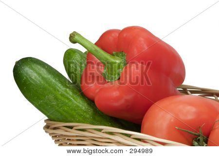 Basket With Vegetables On White Background With Clipping Path
