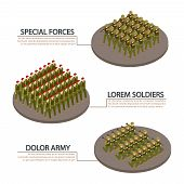 Army, Military, Soldiers Isometric Info Banners Vector Design. Illustration Of Military Infantry, Ar poster