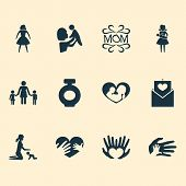 Mothers Day Icon Design Concept. Set Of 12 Such Elements As Relations, Hands, Design. Beautiful Symb poster