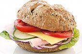 stock photo of bap  - Sandwich with Cheese and Ham - JPG