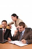picture of people work  - group of 3 business people working together in the office  - JPG