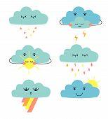 Set Of Cute Cartoon Clouds: Rain Cloud; Thunder Cloud; Cloud Witn Sun; Cloud With Rainow. poster