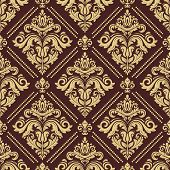 Classic Seamless Pattern. Damask Orient Ornament. Classic Vintage Brown And Golden Background poster