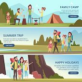 Family Hiking Banners. Kids With Parents Camping Outdoor Explorers Mountain Walking Vector Character poster