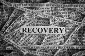 Recovery. Torn Pieces Of Paper With Word Recovery. Concept Image. Black And White. Closeup. poster