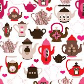 pic of girlie  - Seamless high tea time pot and cup kitchen background pattern in vector - JPG
