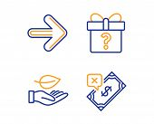 Next, Secret Gift And Leaf Icons Simple Set. Rejected Payment Sign. Forward, Unknown Package, Plant  poster