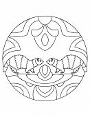 Pattern With Ferrets. Illustration With A Ferret. Mandala With An Animal. Polecat In A Circular Fram poster