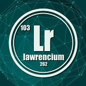 Lawrencium Chemical Element. Sign With Atomic Number And Atomic Weight. Chemical Element Of Periodic poster