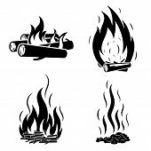 Campfire Icons Set. Simple Set Of Campfire Vector Icons For Web Design On White Background poster