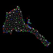 Bright Mesh Eritrea Map With Glare Effect. Wire Carcass Polygonal Mesh In Vector Format On A Black B poster