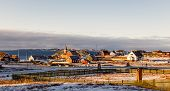 Nuuk City Suburb Panorama With Inuit Houses With Sea And The Fjord Background, Greenland poster