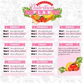 Healthy Diet Planning. Healthy Food And Weekly Meal Plan Schedule. Dietic Timetable. Vector Illustra poster