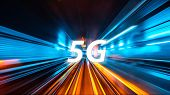 Moving Forward Motion Blur Background With 5g Network Wireless System Internet Of Things With Abstra poster