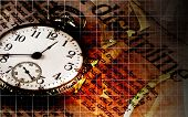 Time and Money discipline abstract image with several grid lines, an old pocket watch and the word '
