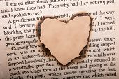 Heart Shaped Burnt Out Of A Texted Paper poster