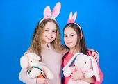Sisters Smiling Cute Bunny Costumes. Spread Joy And Happiness Around. Hope Love And Joyful Living. F poster