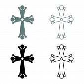 Four Pointed Cross Drop Shaped Cross Monogram Religious Cross Icon Set Black Grey Color Vector Illus poster